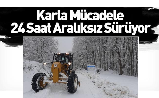 İnegöl'de karla mücadele sürüyor