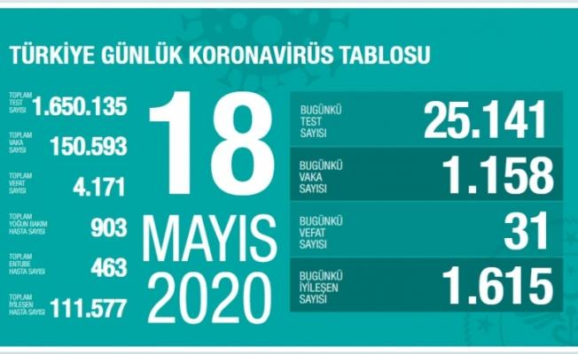 Türkiye'de koronavirüs nedeniyle son 24 saatte 31 kişi hayatını kaybetti