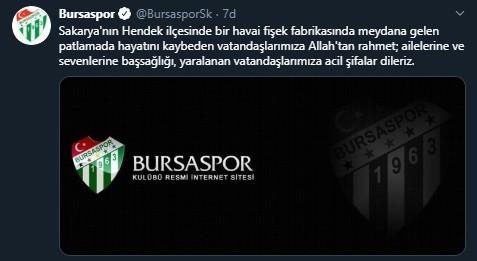 Bursaspor'dan başsağlığı mesajı