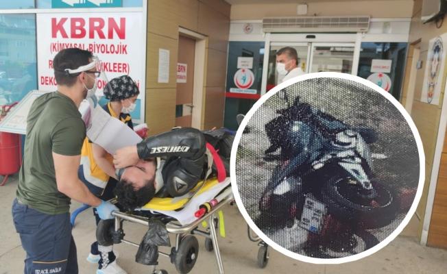 Yeni aldığı motosikletiyle kaza yaptı