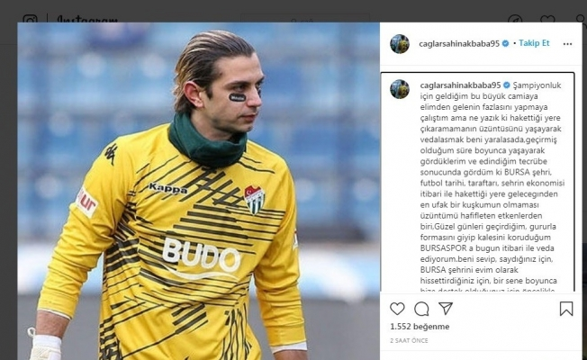 Kaleci Çağlar Şahin Akbaba'dan Bursaspor'a veda