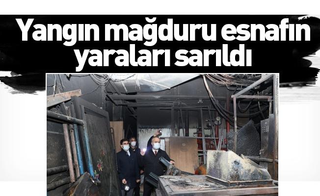 Bursa'da yangın mağduru esnafın yaraları sarıldı