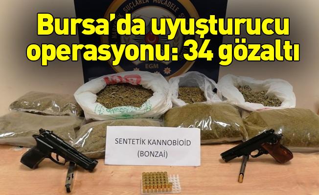 Bursa'da uyuşturucu operasyonu: 34 gözaltı
