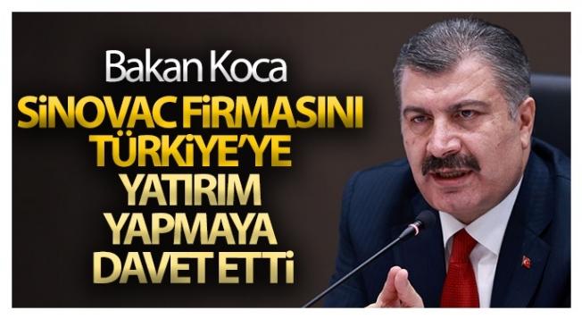 Sağlık Bakanı Koca, Sinovac firmasını Türkiye'ye yatırım yapmaya davet etti