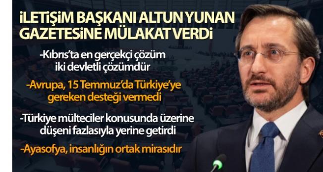 Cumhurbaşkanlığı İletişim Başkanı Altun: 'Kıbrıs'ta en gerçekçi çözüm iki devletli çözümdür'