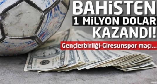 Gençlerbirliği-Giresunspor maçından 1 milyon dolar kazandı