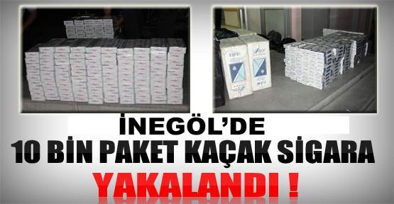 İnegöl'de 10 Bin paket kaçak sigara yakalandı!