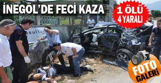 İnegöl'de Feci Kaza : 1 Ölü 4 Yaralı