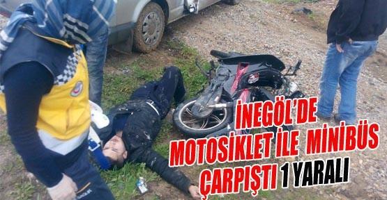 İnegöl'de Minibüs ile Motosiklet Çarpıştı: 1 Yaralı