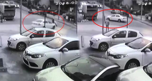 Otomobilin Yayaya Çarpıp Kamyonetle Arasında Sıkıştırdığı Anlar Kamerada