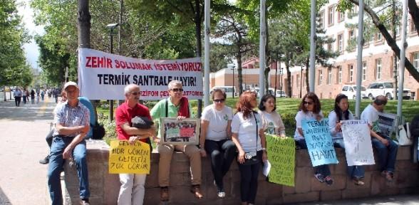 Termik santrali protesto ettiler