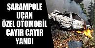 Şarampole Uçan Otomobil Cayır Cayır Yandı