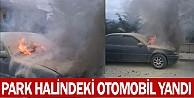 İnegöl#039;de park halindeki otomobil yandı