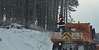 Uludağ -12 oldu, ekipler yolları tuzladı