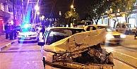Bursa'da kaza: Arkadan çarptığı aracı yaya yoluna fırlattı