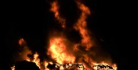 Yolcu otobüsleri alev alev yandı