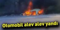 Otomobil alev alev yandı