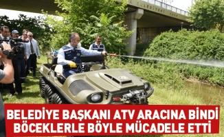 Belediye Başkanı ATV aracına bindi, böceklerle böyle mücadele etti
