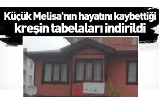 İnegöl'de küçük Melisa'nın hayatını kaybettiği kreşin tabelaları indirildi