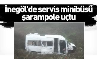 İnegöl'de servis minibüsü şarampole uçtu