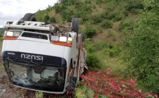 Karpuz yüklü kamyon devrildi 2 yaralı