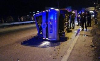 Takla atan araç metrelerce sürüklendi: 1 yaralı