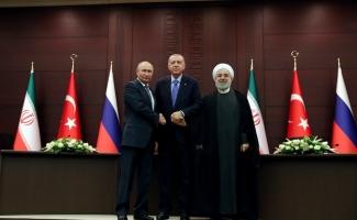 Erdoğan-Putin-Ruhani ortak basın toplantısı