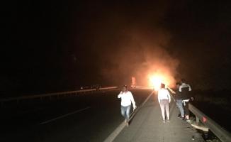 Gençlergücüspor otobüsü yandı!