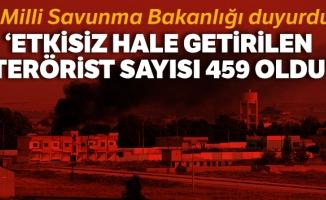 MSB: 'Barış Pınarı Harekâtı'nda etkisiz hale getirilen terörist sayısı 459 oldu'