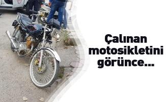 Çalınan motosikletini görünce...