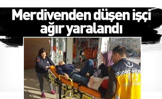 Merdivenden düşen işçi ağır yaralandı