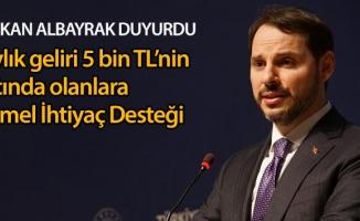 Bakan Albayrak: 'Aylık 5 bin TL'nin altında geliri olan tüm vatandaşlar için Temel İhtiyaç Desteği'ni devreye aldık'