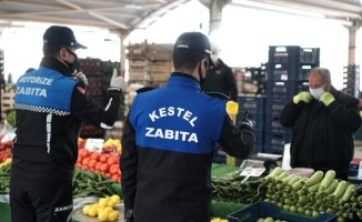 Kestel'de pazar yerlerinde korona virüs tedbirleri