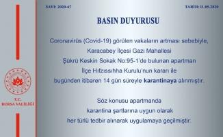 Bursa'da bir apartman karantinaya alındı