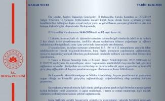 Bursa Valiliğinden yeni İl Hıfzıssıhha Kurul Kararı açıklaması