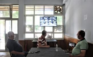 (Özel) Tarlaya mobese kurdular...Kahvede ekran başında çay keyfiyle hırsız nöbeti tutuyorlar