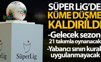 Süper Lig'de küme düşme kaldırıldı!