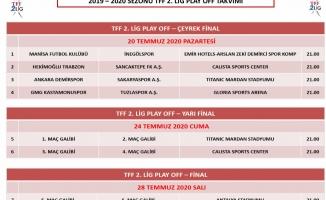 TFF 2. Lig'de play-off maç programı belli oldu
