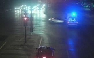 Altı kişinin yaralandığı ambulans kazası kamerada