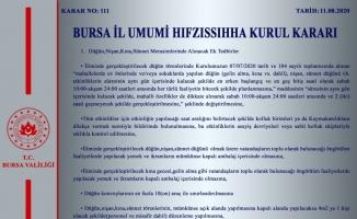 Bursa Valiliği, alınan yeni İl Hıfzıssıhha Kurul Kararını açıkladı