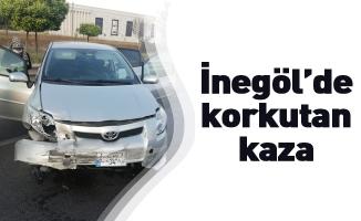 İnegöl'de otomobil bariyerlere çarptı: 2 yaralı