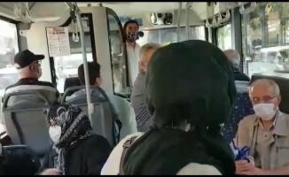 Bursa'da otobüs şoförü ile yolcu arasındaki mesafe tartışması kameralara yansıdı