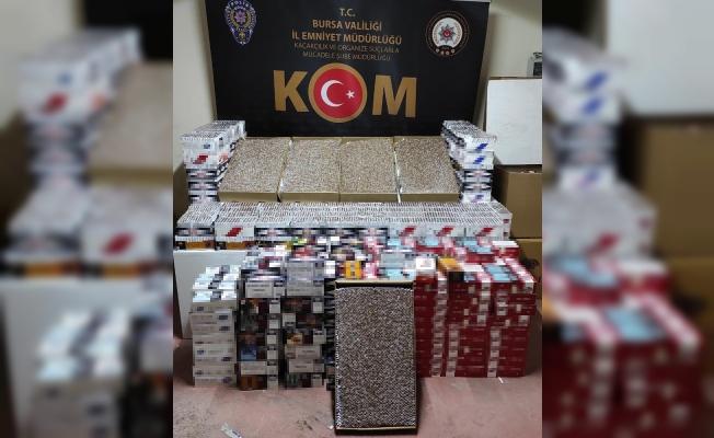 Bursa'da kaçak sigara imalathanesine baskın