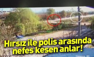 Hırsız ile polis arasında nefes kesen anlar kameraya yansıdı