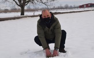 Kar, çiftçinin yüzünü güldürdü