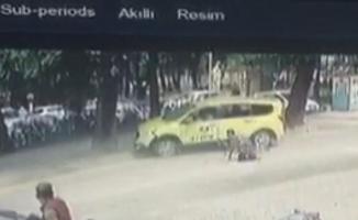 Ticari taksi ile bisiklet çarpıştı