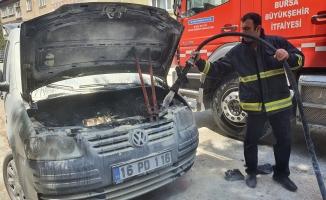 Çalıştırmak istediği araç yandı