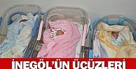 İnegöl'de Üçüz Bebek Sevinci