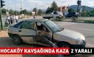 Hocaköy Kavşağında kaza:2 yaralı