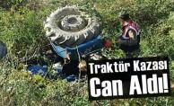 Şarampole yuvarlanan traktörün altında hayatını kaybetti